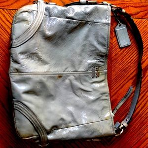 Used Patent Leather Fog Blue Coach bag